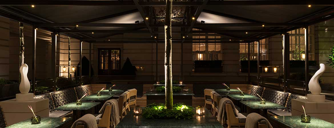 fibre optic lighting in the rosewood hotel terrace, london