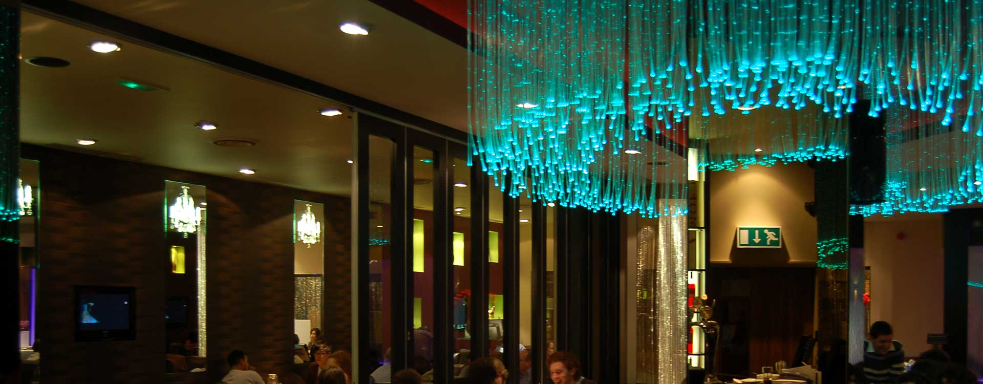 fibre optic chandelier in the curry lounge