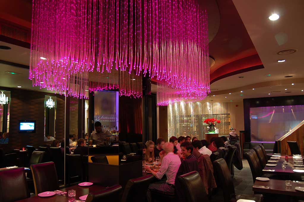 fibre optic chandelier in the curry lounge restaurant