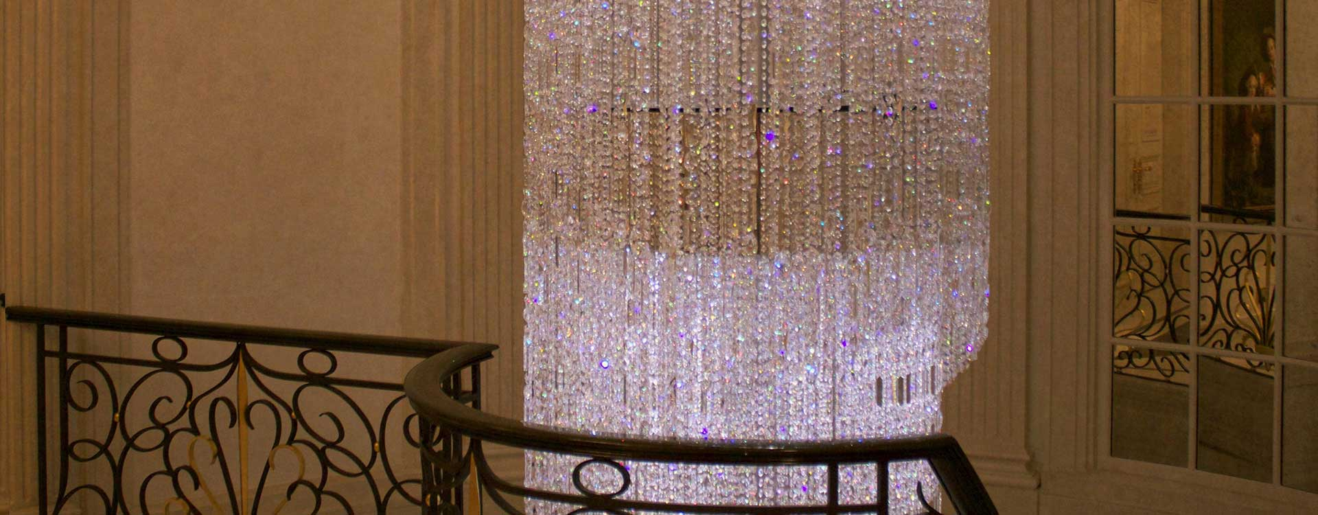 fibre optic chandelier in the walpole residence