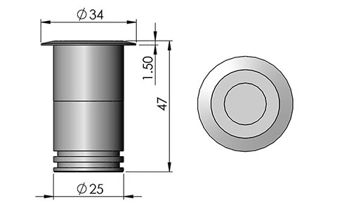 lp6 led fitting cad image