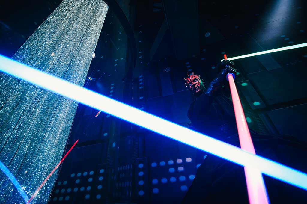 fibre optic lighting in madame tussauds star wars exhibition