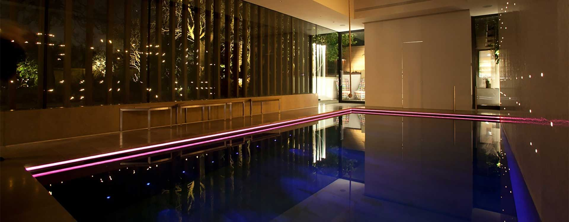 fibre optic lighting in a private pool